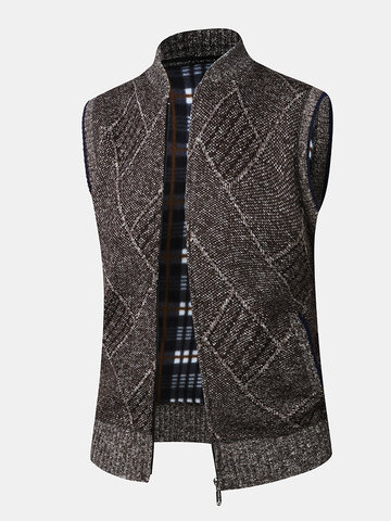 Knitted Zip Up Sleevless Vests