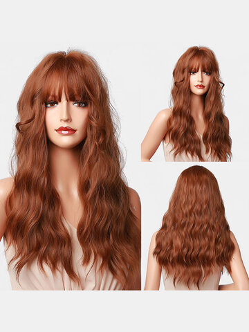 Long Wool Curly Flat Bangs Synthetic Wigs