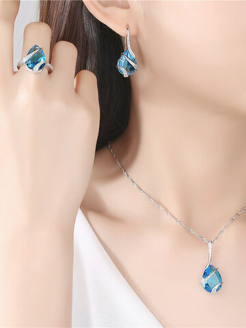 3 Pcs Thanksgiving Necklace Earrings Ring Set