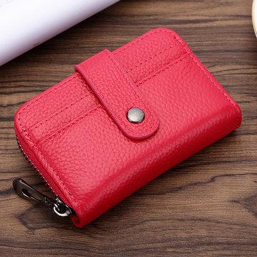 Women Men Genuine Leather Small Wallet