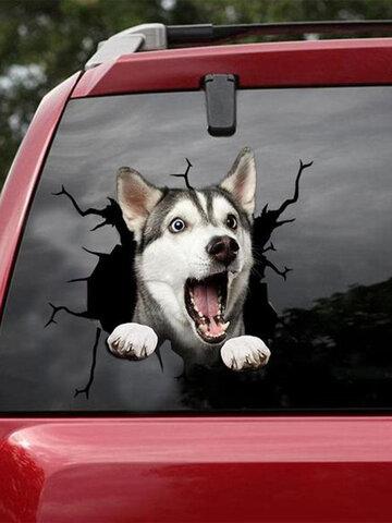 1 шт. 3D яркая стена Авто окно Собака виниловая наклейка разбитое стекло креативные наклейки съемный подарок для любовника Собакаs