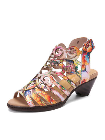 Socofy Hollow Out Leather Hook Loop Heeled Sandals