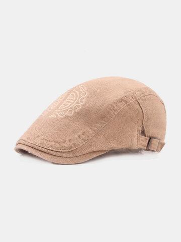 Chapeau plat ajustable en coton brodé pour hommes