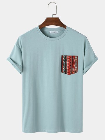 T-Shirt With Ethnic Pattern Pocket