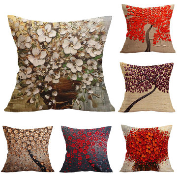 3D Oil Tree Painting Pillowcase