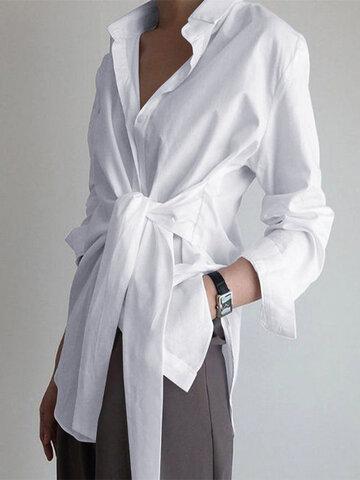 Solid Color Wrap Lapel Shirt