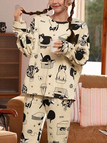 Plus Size Cartoon Cat Pajamas