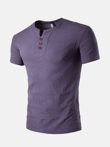 Summer Chinese Style Linen Casual T Shirt