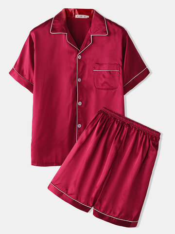 Plain Faux Silk Satin Pajamas Set