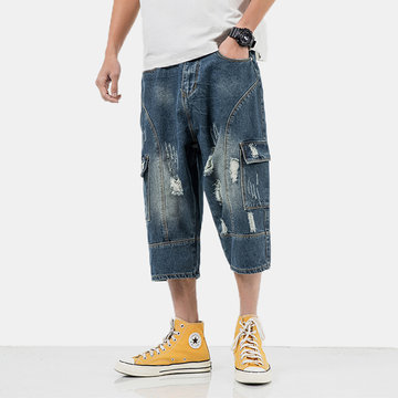 Mens Denim Patchwork Hole Pockets Cropped Trousers Shorts