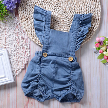Baby Girls Denim Romper For 0-24M