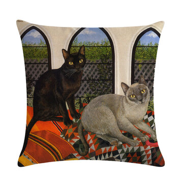 Animal Pattern Pillowcase Decorative Cat Pattern Pillowcase Sofa Chair Cover Pillowcase Home Decoration