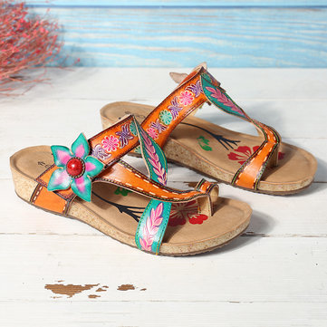 Hand Painted  Retro Floral Sandals