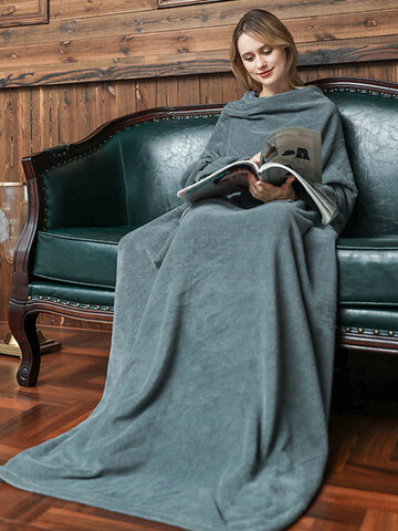 Plain Sofa Blanket Winter Warm Soft Wearable Flannel Weighted Blanket With Sleeves Travel Plush Lazy Long TV Blanket
