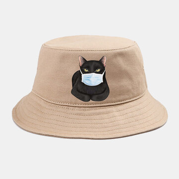 Cute Cat Isolated Pattern Hat Cotton Bucket Cap