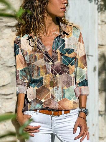 Geometric Printed Long Sleeve Blouse