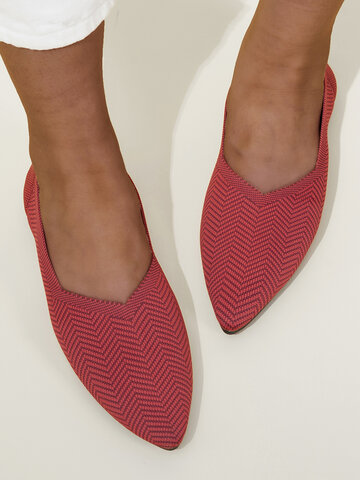 Knitted Slip On Flats
