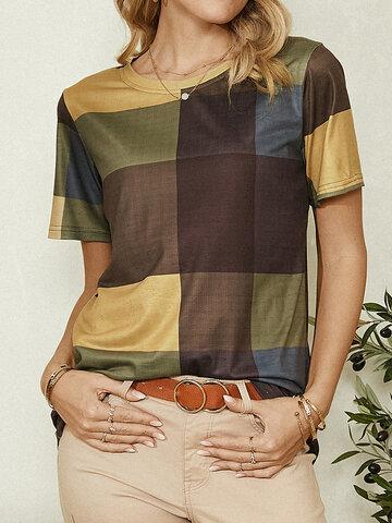 Plaid Print Short Casual T-shirt