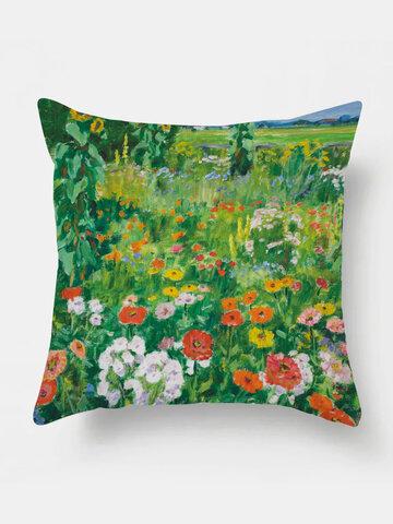 1PC Floral Oil Printing Pillowcase Home Decor Sofa Living Room Car Throw Cushion Cover