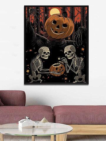 1 PC Unframed Pumpkin Skull Pattern Halloween Series Canvas Painting Wall Art Home Decor Wall Pictures