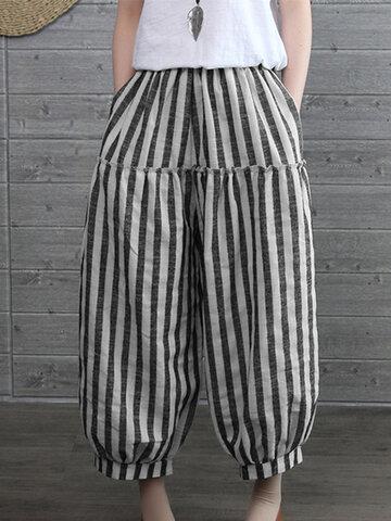 Elastic Waist Stripe Vintage Pants