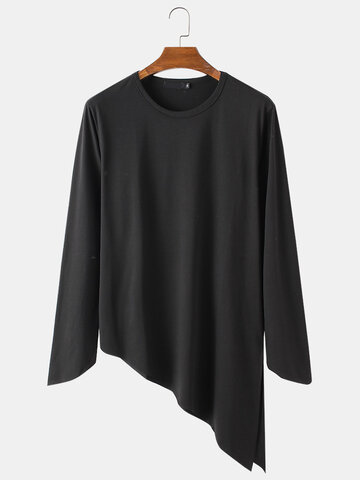 Modal Plain Irregular Hem T-Shirt