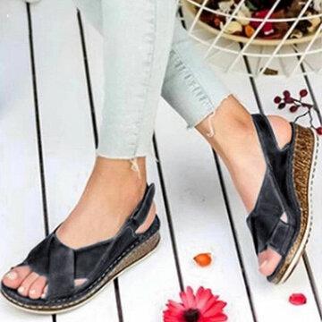 Back Strap Hook Loop Wedges Sandals