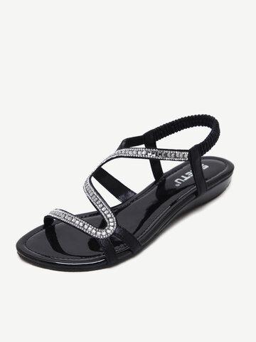 Sequined Elastic Band Elegant Sandals