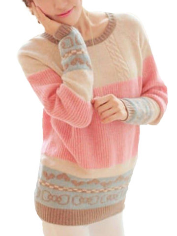 Pullover Knitwear Heart Pattern Stitching Loose Sweater