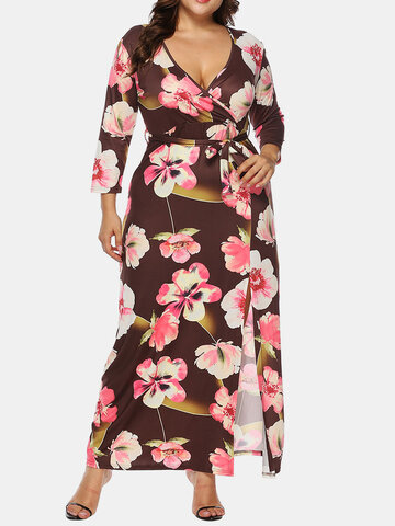 Flower Print Tie Front Dress