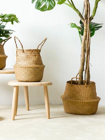 Folding Flower Pot Straw Storage Baskets