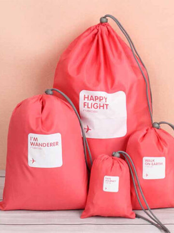 4Pcs Waterproof Nylon Drawstring Travel Storage Bag