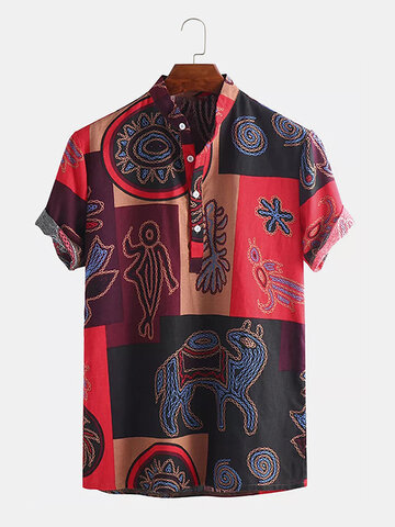 Cotton African Tribal Ethnic Totem Printed Henley Shirt