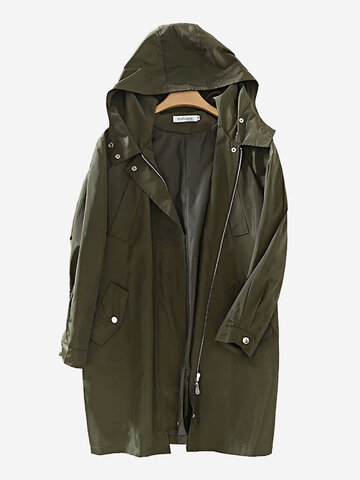 Solid Color Pocket Trench Coat, Black army