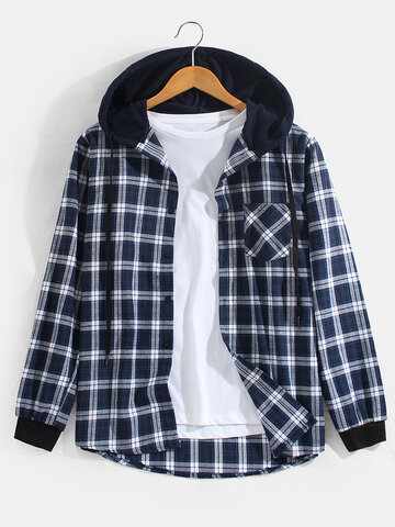 Basic Plaid Hooded Shirts