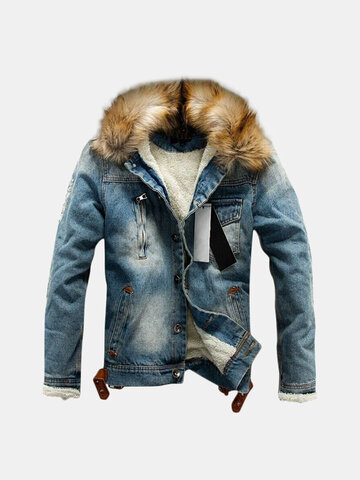 Casual Fleece Fur Collar Denim Blazers Jacket