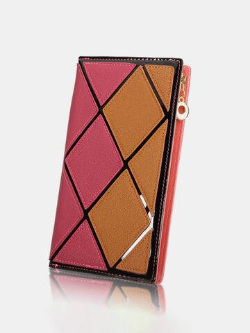 Women Diamond Lattice Contrast Color Long Zipper Wallet Casual Cash Coins Purse
