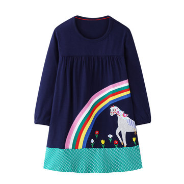 Girls Rainbow Unicorn Print Casual Dress For 1-9Y