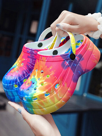 Rainbow Print Cave Shoes