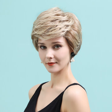 Gold Textured Short Wig