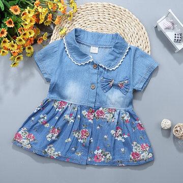 Vestidos de mezclilla con estampado floral para niñas