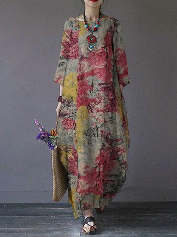 Printed Pockets Cotton Dress