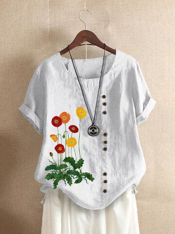 T-shirt a maniche corte con ricamo floreale