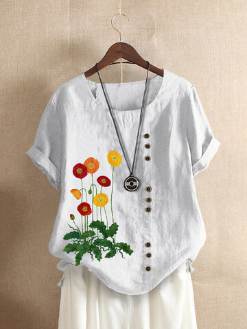 Blumenstickerei Kurzarm T-Shirt