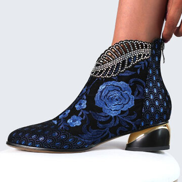 Leather Embroidered Flowers Rhinestone Summer Boots