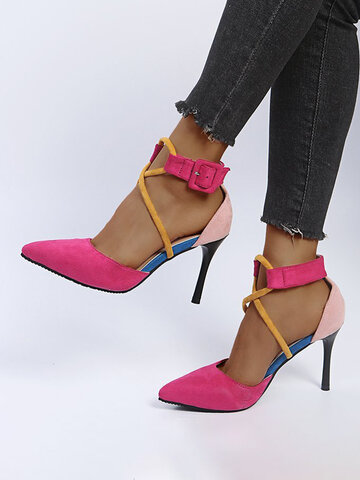 Fashion Colorblock Pointed Toe Cross Strap Heels