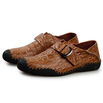 Men Crocodile Pattern Hook-Loop Casual Leather Shoes