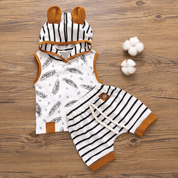 Striped Hooded Baby Set For 0-2Years