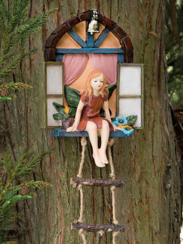 1 PC Fairy House Tree Hanging Sculpture Hand-Painted Window Sitting Fairy with Ladder Resin Statue Miniature Home Garden Decor