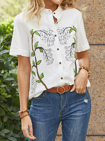 Calico Print Short Sleeve Button Blouse